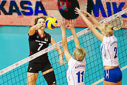 24.09.2011, Hala Pionir, Belgrad, SRB, Europameisterschaft Volleyball Frauen, Vorrunde Pool A, Deutschland (GER) vs. Ukraine (UKR), im Bild Angelina Grün / Gruen (#7 GER / Aachen GER) - Iryna Komisarova (#11 UKR) - Nadila Kodola (#16 UKR), Tetyana Litvinovska (#2 UKR) // during the 2011 CEV European Championship, First round at Hala Pionir, Belgrade, SRB, 2011-09-24. EXPA Pictures © 2011, PhotoCredit: EXPA/ nph/  Kurth       ****** out of GER / CRO  / BEL ******