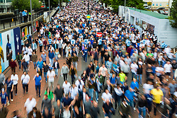 London, August 20 2017. Thousands of fans stream from the stadium following Chelsea's 2-1 victory when Tottenham Hotspur host their first game of the Premier League season at their temporary home ground, Wembley Stadium. © Paul Davey.