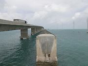 old and new bridge next to each other on route 1 to Key West Florida USA