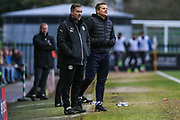 Forest Green Rovers assistant manager, Scott Lindsey and Forest Green Rovers manager, Mark Cooper during the EFL Sky Bet League 2 match between Forest Green Rovers and Wycombe Wanderers at the New Lawn, Forest Green, United Kingdom on 1 January 2018. Photo by Shane Healey.