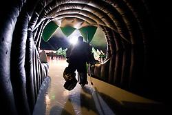 Goalie of HDD Tilia Olimpija Ales Sila before ice-hockey match between HDD Tilia Olimpija and EHC Liwest Black Wings Linz in 18th Round of EBEL league, on November 5, 2010 at Hala Tivoli, Ljubljana, Slovenia. (Photo By Matic Klansek Velej / Sportida.com)