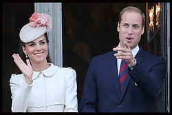 Image licensed to i-Images Picture Agency. 04/08/2014. Mons, Belgium .The Duke and Duchess of Cambridge on the balcony of Mons Town Hall in Belgium during a reception as part of series of events to commemorate  the 100th anniversary of the start of the First World War. Picture by Stephen Lock / i-Images
