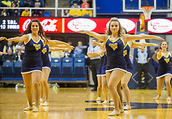 Dec 5, 2015; Morgantown, WV, USA; West Virginia Mountaineers dance team members perform during a timeout during the second half against the Kennesaw State Owls at WVU Coliseum. Mandatory Credit: Ben Queen-USA TODAY Sports