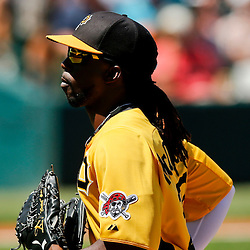 Mar 13, 2013; Bradenton, FL, USA; Pittsburgh Pirates center fielder Andrew McCutchen (22) returns to the dugout following the top of the fifth inning of a spring training game against the Toronto Blue Jays at McKechnie Field. Mandatory Credit: Derick E. Hingle-USA TODAY Sports