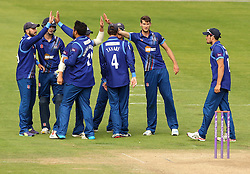 Gloucestershire celebrate a wicket - Mandatory by-line: Robbie Stephenson/JMP - 07966386802 - 04/08/2015 - SPORT - CRICKET - Bristol,England - County Ground - Gloucestershire v Durham - Royal London One-Day Cup