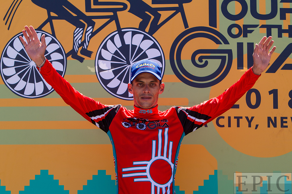 SILVERY CITY, NM - APRIL 18: Oscar Eduardo Snchez Guarn (Canel's-Specialized) takes the leaders jersey after  stage 1 of the Tour of The Gila on April 18, 2018 in Silver City, New Mexico. (Photo by Jonathan Devich/Epicimages.us)