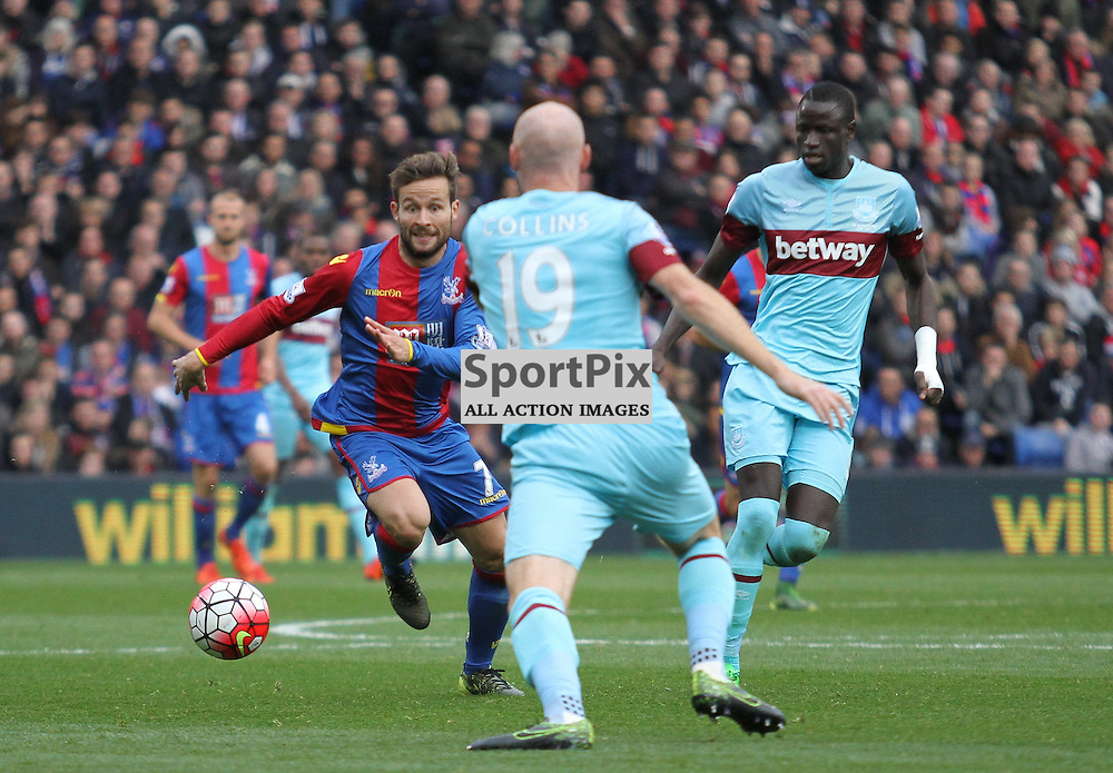Crstal Palace Yohan Cabaye and West Hams James Collins race to get the ball