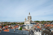 Basilica of Notre Dame, viewed from the balcony of the early 13th century belfry in Boulogne-sur-Mer, Pas-de-Calais, France. This is one of a group of 56 belfries in Belgium and northern France listed as a Unesco World Heritage Site. © Rudolf Abraham