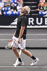 October 4, 2018 - St. Louis, Missouri, U.S - JOHN MCENROE reacts after hitting a bad shot during the Invest Series True Champions Classic on Thursday, October 4, 2018, held at The Chaifetz Arena in St. Louis, MO (Photo credit Richard Ulreich / ZUMA Press) (Credit Image: © Richard Ulreich/ZUMA Wire)