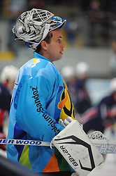 10.11.2013, Olympiaeisstadion, Muenchen, GER, Deutschlandcup 2013, USA vs Deutschland, im Bild Dimitri Paetzold, Goalkeeper, Team GER, Portrait // during the Deutschlandcup 2013 ice hockey match between USA and Germany at the Olympiaeisstadion in Muenchen, Germany on 2013/11/10. EXPA Pictures © 2013, PhotoCredit: EXPA/ Eibner-Pressefoto/ Buthmann<br /> <br /> *****ATTENTION - OUT of GER*****