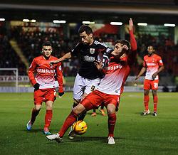 Bristol City Forward Sam Baldock (ENG) is challenged by Leyton Orient Defender Gary Sawyer (ENG) - Photo mandatory by-line: Rogan Thomson/JMP - 07966 386802 - 11/02/2014 - SPORT - FOOTBALL - The Matchroom Stadium, London - Leyton Orient v Bristol City - Sky Bet Football League 1.