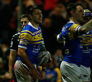 Tom Briscoe of Leeds Rhinos celerbrates scoring the 2nd try of the game against Hull FC during the Betfred Super League match at Emerald Headingley Stadium, Leeds<br /> Picture by Stephen Gaunt/Focus Images Ltd +447904 833202<br /> 08/03/2018