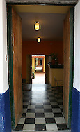 An entrace to a tea room in the La Candelaria district of Bogota, Colombia