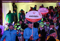 18.03.2017, Planai-Stadion, Schladming, AUT, Special Olympics 2017, Wintergames, Eröffnungsfeier, im Bild der Einmarsch der Delegation aus Andorra mit Ex-Skirennläufer Michael Tritscher // the delegation of Andorra with former ski racer Michael Tritscher during the opening ceremony in the Planai Stadium at the Special Olympics World Winter Games Austria 2017 in Schladming, Austria on 2017/03/17. EXPA Pictures © 2017, PhotoCredit: EXPA / Martin Huber