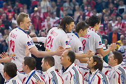 Rene Toft Hansen of Denmark, Mikkel Hansen of Denmark,  Lasse Svan Hansen of Denmark and Rasmus Lauge Schmidt of Denmark with players of Croatia during closing ceremony after the final handball match between Serbia and Denmark at 10th EHF European Handball Championship Serbia 2012, on January 29, 2012 in Beogradska Arena, Belgrade, Serbia. Denmark defeated Serbia 21-19 and became European Champion 2012. (Photo By Vid Ponikvar / Sportida.com)