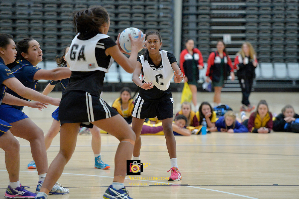 Action from the CSW Junior A Netball Tournament - Tanya Dearns Cup at ASB Sports Centre, Kilbirnie, New Zealand on Thursday 7 August 2014. <br /> Photo by Masanori Udagawa. <br /> www.photowellington.photoshelter.com.