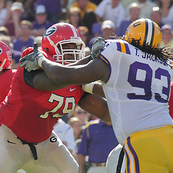 25 October 2008: Georgia guard Justin Anderson (79) blocks LSU defensive end Tyson Jackson (93) during the Georgia Bulldogs 52-38 victory over the LSU Tigers at Tiger Stadium in Baton Rouge, LA.
