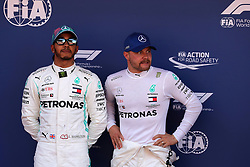 May 11, 2019 - Montmelò.Montmel&#Xf2, Catalunya, Spain - xa9; Photo4 / LaPresse.11/05/2019 Montmelo, Spain.Sport .Grand Prix Formula One Spain 2019.In the pic: 2nd position Lewis Hamilton (GBR) Mercedes AMG F1 W10 and Valtteri Bottas (FIN) Mercedes AMG F1 W10 pole position (Credit Image: © Photo4/Lapresse via ZUMA Press)