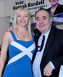 Stock images of Alex Salmond from 01 April 2015<br /> <br /> Pictured: Alex Salmond attending MP Hannah Bardell's adoption dinner on 01 April 2015 prior to her election. It shows Alex Salmond being tactile with female audience members which is part of his defence in his current trial.<br /> <br /> Alex Todd | Edinburgh Elite media