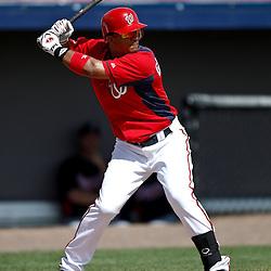 March 4, 2011; Viera, FL, USA; Washington Nationals second baseman Alberto Gonzalez (12) during a spring training exhibition game against the Atlanta Braves at Space Coast Stadium.  Mandatory Credit: Derick E. Hingle
