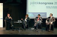"""25 NOV 2003, BERLIN/GERMANY:<br /> Michael Rogowski, Praesident BDI, Hajo Schumacher, Journalist, Michael Glos, Stellv. Fraktionsvors. CDU/CSU Fraktion, Franz Muentefering, SPD Fraktionsvorsitzender, (v.L.n.R.), waehrend der Abschlussdiskussion zm Thema """"Kommunikation ohne Klischees"""", Politikkongress, dbb Forum<br /> IMAGE: 20031125-01-188<br /> KEYWORDS: Franz Müntefering"""