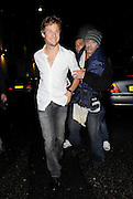 17.NOVEMBER.2010. LONDON<br /> <br /> JENSON BUTTON LOOKING A LITTLE WORSE FOR WEAR WITH ALCOHOL DOWN HIS SHIRT AS HE LEAVES MAHIKI NIGHT CLUB IN MAYFAIR AND GETS MAN HANDLED BY A HOMELESS GUY ON THE WAY OUT.<br /> <br /> BYLINE: EDBIMAGEARCHIVE.COM<br /> <br /> *THIS IMAGE IS STRICTLY FOR UK NEWSPAPERS AND MAGAZINES ONLY*<br /> *FOR WORLD WIDE SALES AND WEB USE PLEASE CONTACT EDBIMAGEARCHIVE - 0208 954 5968*