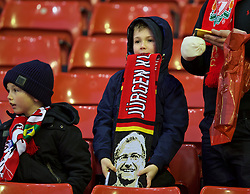 LIVERPOOL, ENGLAND - Saturday, January 30, 2016: A Liverpool supporter with a Jürgen Klopp scarf before the FA Cup 4th Round match against West Ham United at Anfield. (Pic by David Rawcliffe/Propaganda)