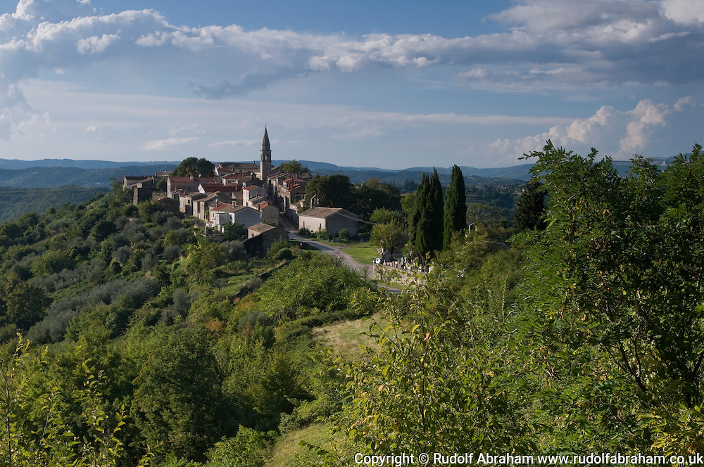 The medieval hill town of Draguc, used as a location in several Croatian and international films, Istria, Croatia