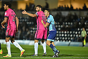 Wycombe Wanderers Midfielder, Luke O'Nien (17) marks Hartlepool United Forward, Billy Paynter (10)  during the EFL Sky Bet League 2 match between Wycombe Wanderers and Hartlepool United at Adams Park, High Wycombe, England on 26 November 2016. Photo by Adam Rivers.