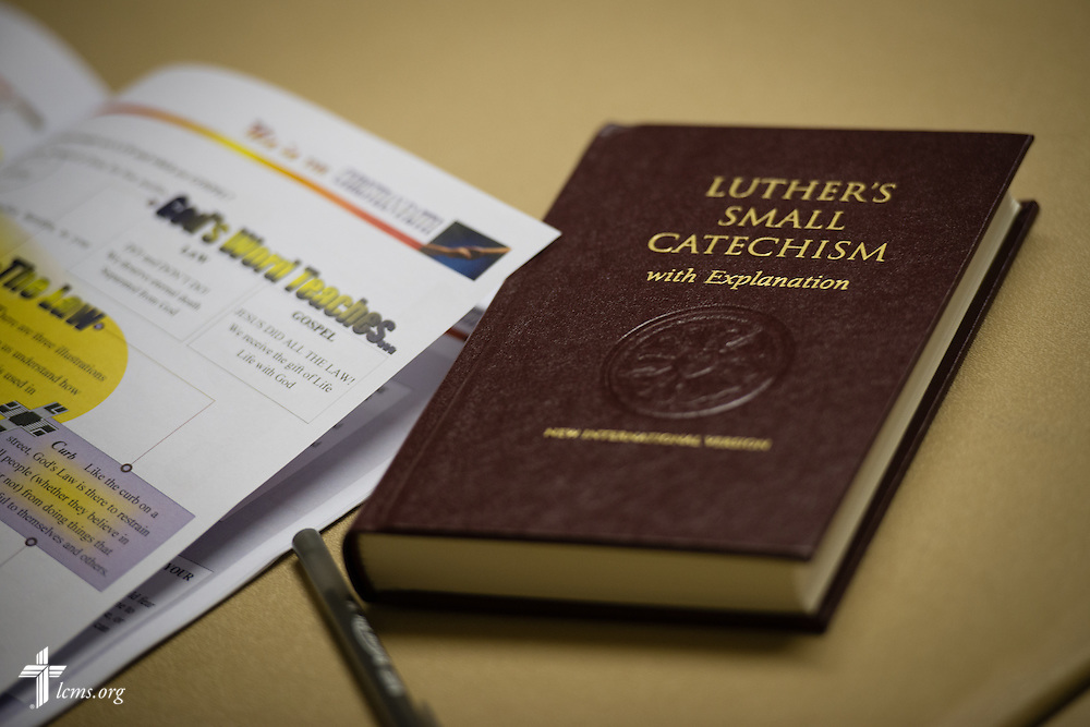 Luther's Small Catechism lays on a table during class taught under the Rev. Edward DeWitt at Lutheran Church of the Redeemer on Thursday, Feb. 12, 2015, in Sanford, Fla.  LCMS Communications/Erik M. Lunsford