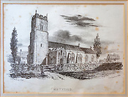 Nineteenth century picture engraving print of church at Metfield, Suffolk, England, UK dated 1833