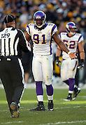 Minnesota Vikings defensive end Ray Edwards (91) complains about a call to an official during the NFL football game against the Pittsburgh Steelers, October 25, 2009 in Pittsburgh, Pennsylvania. The Steelers won the game 27-17. (©Paul Anthony Spinelli)