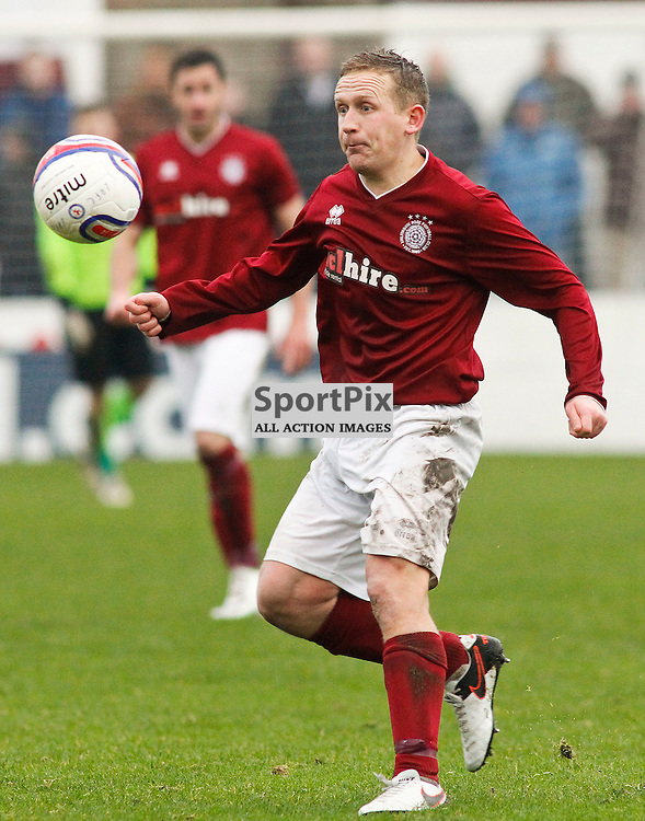 Andy Shirra<br /> in action for Linlithgow Rose who made history when they became the first junior club to reach the Scottish Cup 5th round when they beat Forfar Athletic 1-0 on 26th January 2016<br /> (c) Andrew West | SportPix.org.uk