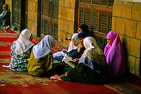 Islamic women studying the Koran, el-Ashar Mosque, Islamic Cairo.