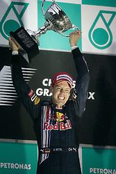 SHANGHAI, CHINA - Sunday, April 19, 2009: Sebastian Vettel (GER, Red Bull Racing) celebrates after winning the Formula One Grand Prix of China at the Shanghai International Circuit. (Pic by Michael Kunkel/Hoch Zwei/Propaganda)