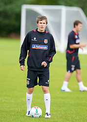 WREXHAM, WALES - Monday, August 18, 2008: Wales' Aaron Ramsey training at Colliers Park ahead of their UEFA European U21 Championship Group 10 Qualifying match against Romania. (Photo by David Rawcliffe/Propaganda)