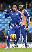 Chelsea attacker Willian warming up before the Barclays Premier League match between Chelsea and Everton at Stamford Bridge, London, England on 16 January 2016. Photo by Andy Walter.
