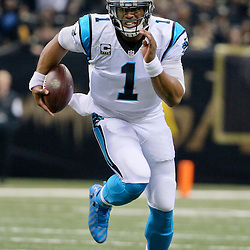 Dec 6, 2015; New Orleans, LA, USA; Carolina Panthers quarterback Cam Newton (1) runs against the New Orleans Saints during the second quarter of a game at Mercedes-Benz Superdome. Mandatory Credit: Derick E. Hingle-USA TODAY Sports