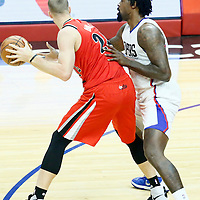 09 November 2016: Los Angeles Clippers center DeAndre Jordan (6) defends on Portland Trail Blazers forward Mason Plumlee (24) during the LA Clippers 111-80 victory over the Portland Trail Blazers, at the Staples Center, Los Angeles, California, USA.