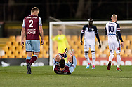 SYDNEY, AUSTRALIA - AUGUST 21: APIA Leichhardt Tigers midfielder Corey Bizco (8) goes down after being tackled at the FFA Cup Round 16 soccer match between APIA Leichhardt Tigers FC and Melbourne Victory at Leichhardt Oval in Sydney on August 21, 2018. (Photo by Speed Media/Icon Sportswire)