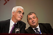 Alistair Darling, Chancellor of the Exchequer, and Brendan Barber, TUC General Secretary, at the TUC Conference 2008.