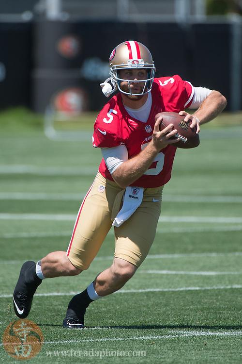 July 24, 2014; Santa Clara, CA, USA; San Francisco 49ers quarterback McLeod Bethel-Thompson (5) during training camp at the SAP Performance Facility.