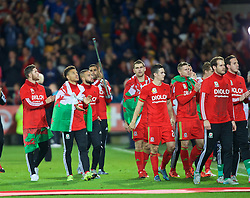 CARDIFF, WALES - Tuesday, October 13, 2015: Wales' Wes Burns, Adam Henley, Ashley 'Jazz' Richards, Sam Vokes, Tom Lawrence. Sam Vokes celebrate qualifying for the finals after the 2-0 victory over Andorra during the UEFA Euro 2016 qualifying Group B match at the Cardiff City Stadium. (Pic by Barry Coombs/Propaganda)