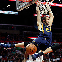 25 March 2016: Utah Jazz center Rudy Gobert (27) dunks the ball during the Los Angeles Clippers 108-95 victory over the Utah Jazz, at the Staples Center, Los Angeles, California, USA.
