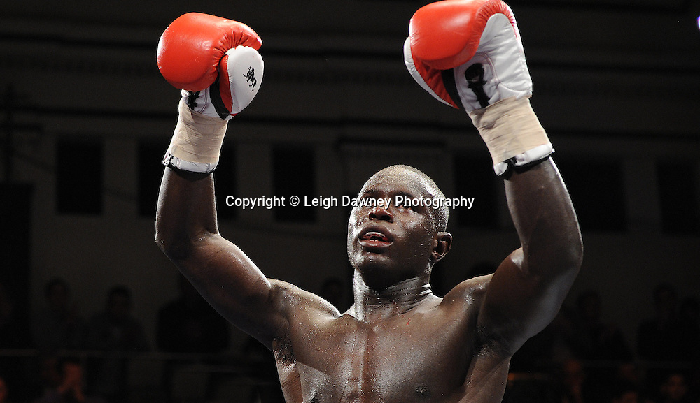 Erick Ochieng defeats Dee Mitchell in a 6x3min Light Middleweight contest at York Hall 09.11.11. Matchroom Sport. Photo credit: © Leigh Dawney 2011.