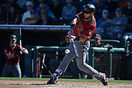 SURPRISE, AZ - MARCH 06:  David Peralta #6 of the Arizona Diamondbacks hits an RBI single in the sixth inning of the spring training game against the Kansas City Royals at Surprise Stadium on March 6, 2017 in Surprise, Arizona.  (Photo by Jennifer Stewart/Getty Images)