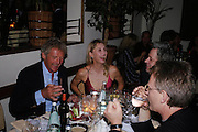 Count Leopold von Bismarck, Allegra Hicks and Sir Bob Geldof. Dinner at San Lorenzo, Beauchamp Place after Tod's hosts Book signing with Dante Ferretti celebrating the launch of 'Ferretti,- The art of production design' by Dante Ferretti. 19 April 2005.  ONE TIME USE ONLY - DO NOT ARCHIVE  © Copyright Photograph by Dafydd Jones 66 Stockwell Park Rd. London SW9 0DA Tel 020 7733 0108 www.dafjones.com