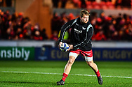 Scarlets' James Davies during the pre match warm up<br /> <br /> Photographer Craig Thomas/Replay Images<br /> <br /> European Rugby Champions Cup Round 5 - Scarlets v Toulon - Saturday 20th January 2018 - Parc Y Scarlets - Llanelli<br /> <br /> World Copyright &copy; Replay Images . All rights reserved. info@replayimages.co.uk - http://replayimages.co.uk