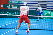 Sopot, Poland - 2018 April 08: Lukasz Kubot from Poland warms up before Men's Double Match Nr 3 during Poland v Zimbabwe Tie Group 2, Europe/Africa Second Round of Davis Cup by BNP Paribas at 100 years of Sopot Hall on April 08, 2018 in Sopot, Poland.<br /> <br /> Mandatory credit:<br /> Photo by © Adam Nurkiewicz / Mediasport<br /> <br /> Adam Nurkiewicz declares that he has no rights to the image of people at the photographs of his authorship.<br /> <br /> Picture also available in RAW (NEF) or TIFF format on special request.<br /> <br /> Any editorial, commercial or promotional use requires written permission from the author of image.