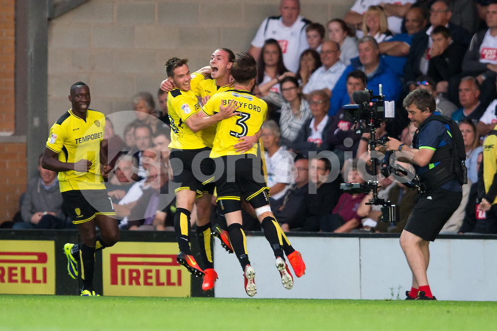Jackson Irvine of Burton Albion celebrates his goal during the EFL Sky Bet Championship match between Burton Albion and Derby County at the Pirelli Stadium, Burton upon Trent, England on 26 August 2016. Photo by James Williamson.